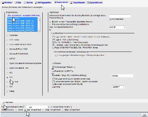 Datenbank-Backup mit phpMyAdmin