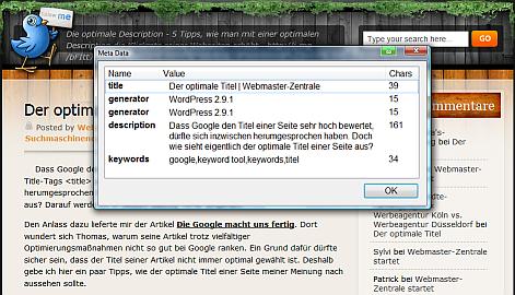 Searchstatus - ein Firefox-Add-on zur Suchmaschinenoptimierung