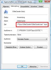 Automatik-Modus von GSiteCrawler in einer Verknüpfung aktivieren