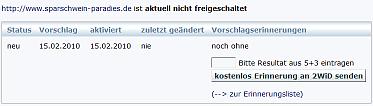 Nicht freigeschalteter Eintrag im 2wid.net-Webkatalog