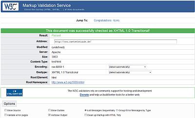 Erfolgsmeldung des W3C-Validators nach dem Validieren