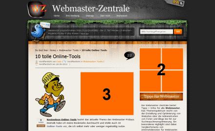 Werbung auf der Artikelseite der Webmaster-Zentrale