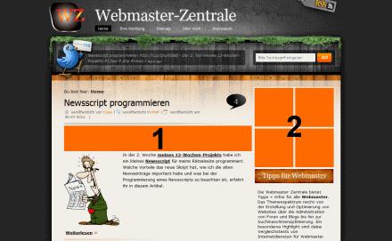 Werbemöglichkeiten Startseite Webmaster-Zentrale
