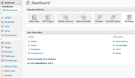 Wordpress als CMS - CMS-Dashboard