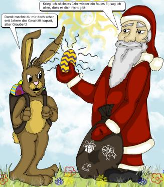 """""""Osterhase trifft Weihnachtsmann"""" gezeichnet von Steffi"""